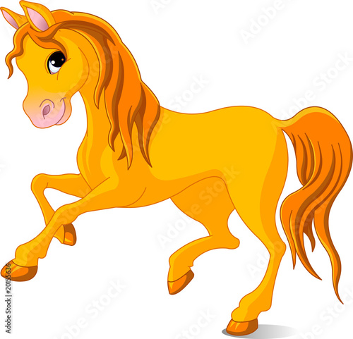 Spoed canvasdoek 2cm dik Pony Vector Illustration of skipping beautiful golden horse