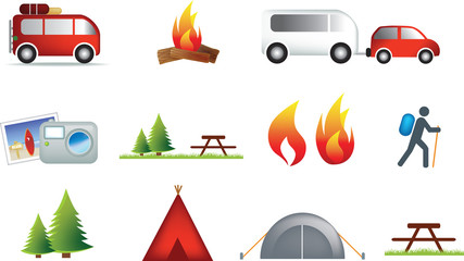 camping and outdoor icon set