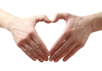 Hand with heart. Isolated over white background