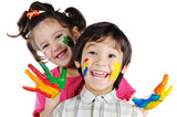 Fototapety Beautiful children with colors