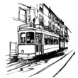 Vector illustration of a typical tramway  in Lisbon - Portugal - 20163088