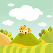 roleta: Spring landscape vector illustration
