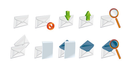 A set of the letter icons for computer white background