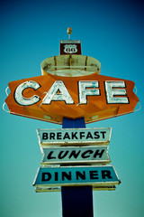 Cafe sign along historic Route 66 in Arizona