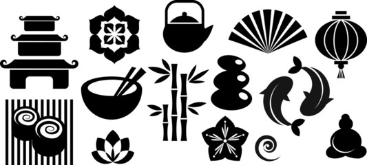 A set of orinental and Zen icons