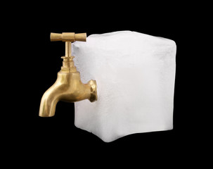 Clean water concept, faucet in ice block