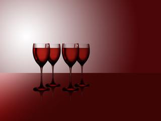 Vier Rotweingläser