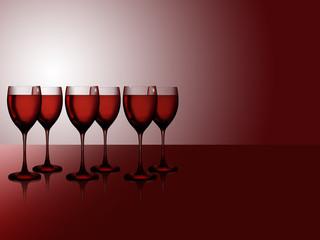 Sechs Rotweingläser