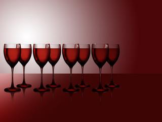 Acht Rotweingläser