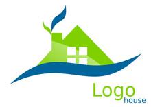 Dom na dachu logo niebieski zielony łuki