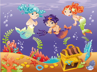 Baby Sirens and Baby Triton. Vector illustration.