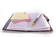 Open notebook with a pen on white