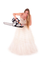 bride with saw