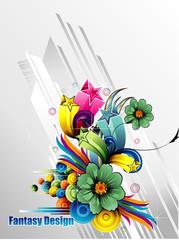 composicion floral abstracta