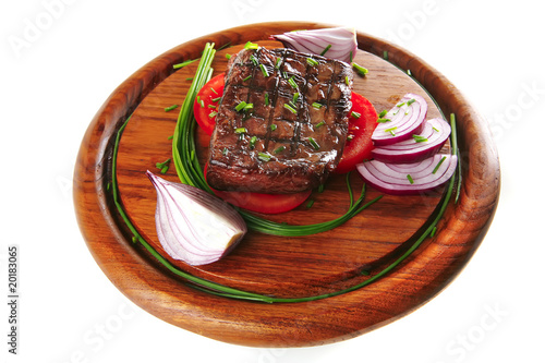 served roasted beef fillet on wood