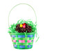 Colorful Easter Basket on white background with copy space.