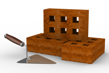 construction trowel and bricks on white. 3D image