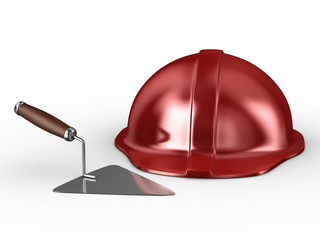 new construction trowel and red helmet isolated on white. 3D ima