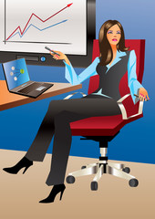Business woman in office - Vector Illustration