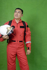resque firefighter isolated on green