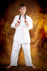 teenager with nunchaku