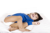 Happy disabled toddler with cerebral palsy lying down poster