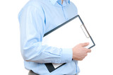 Businessman holding clipboard isolated on white