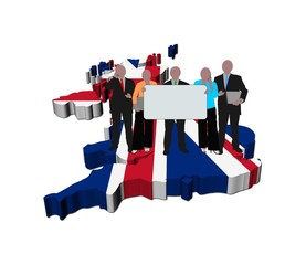 business team with sign on British map flag illustration