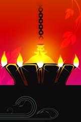 Illustration of hanging golden divine lamp