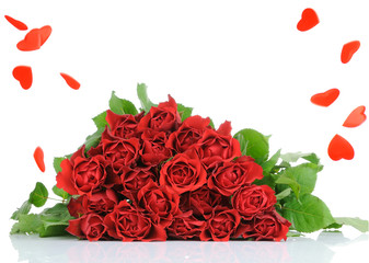 Roses bouquet isolates on white background