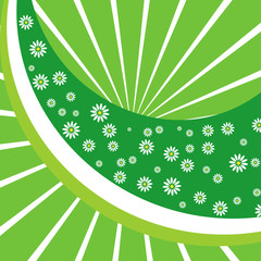 Green floral background. Vector illustration..