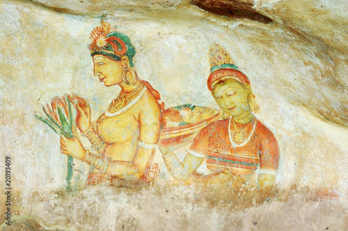 Wall painting in Sigiriya rock monastery, Sri Lanka