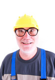 Plumber smiling, in a hardhat against a white background poster