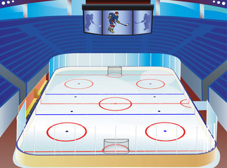 Hockey ice stadium  with detailed goal, tribune and info screen.