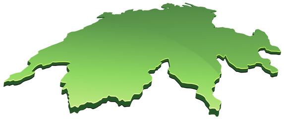 Carte de Suisse 3D verte (détouré)