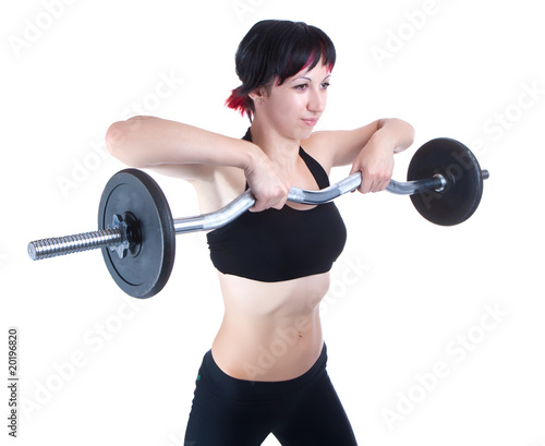 Young woman hang up hands weight