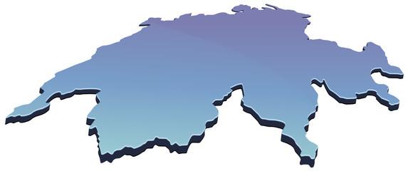 Carte de Suisse 3D bleu (détouré)