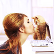 Quadro Kissing a cute kitten The perfect gift