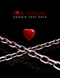 3D Love chain red heart valentine template