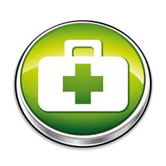 Green aid kit icon.