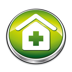 Green healthy institute symbol icon.