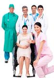 Pregnant woman sitting on wheelchair