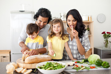 Animated family preparing lunch together