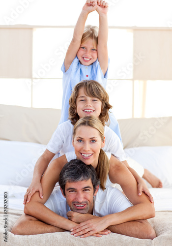 Cheerful family having fun