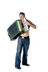 Plays accordion