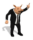 Greedy Demanding Business Pig - 3D render poster