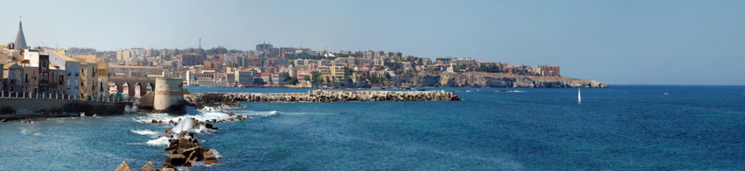 Coastline of Syracuse city, Sicily, Italy.