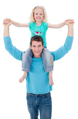 Blond little girl enjoying piggyback ride with her father