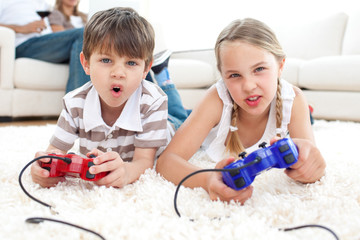 Animated children playing video games