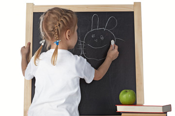 little girl and blackboard